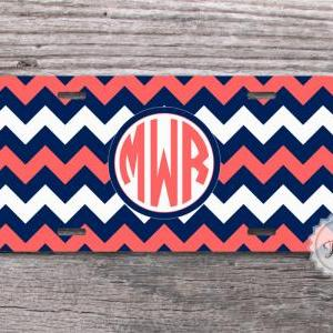 Coral and Navy blue chevron monogra..