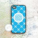 iphone case Sky blue floral monogra..