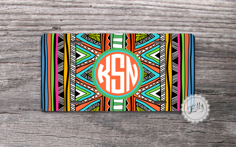 Aztec pattern monogram license plate tribal geometric tag with preppy coral circle monogrammed front tag