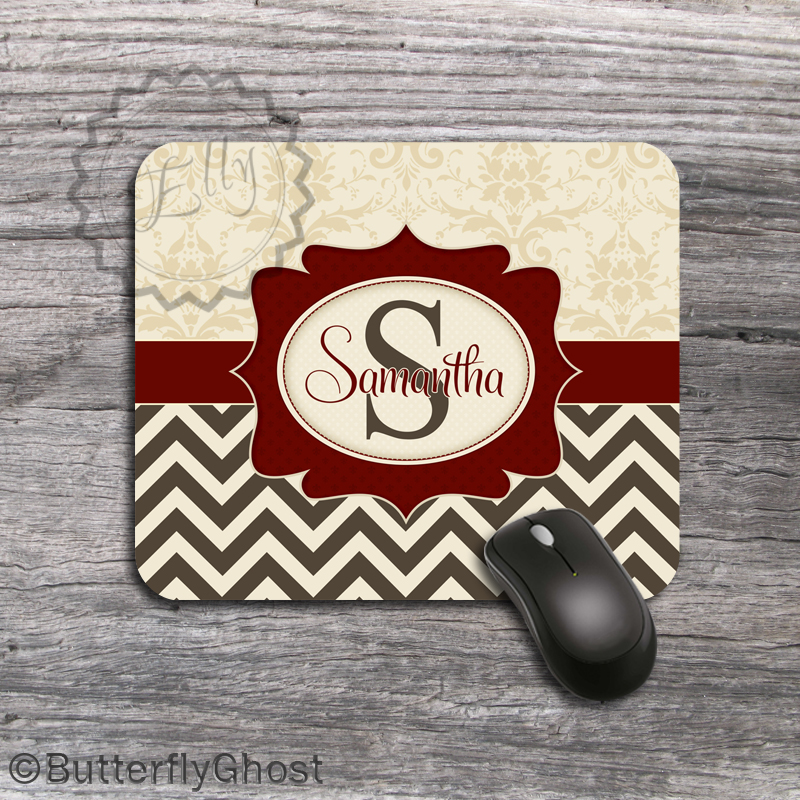Monogrammed Computer Mousepad - Classy Tan Damask,Maroon Label and Dark Brown Chevron set desk accessory, customized padding
