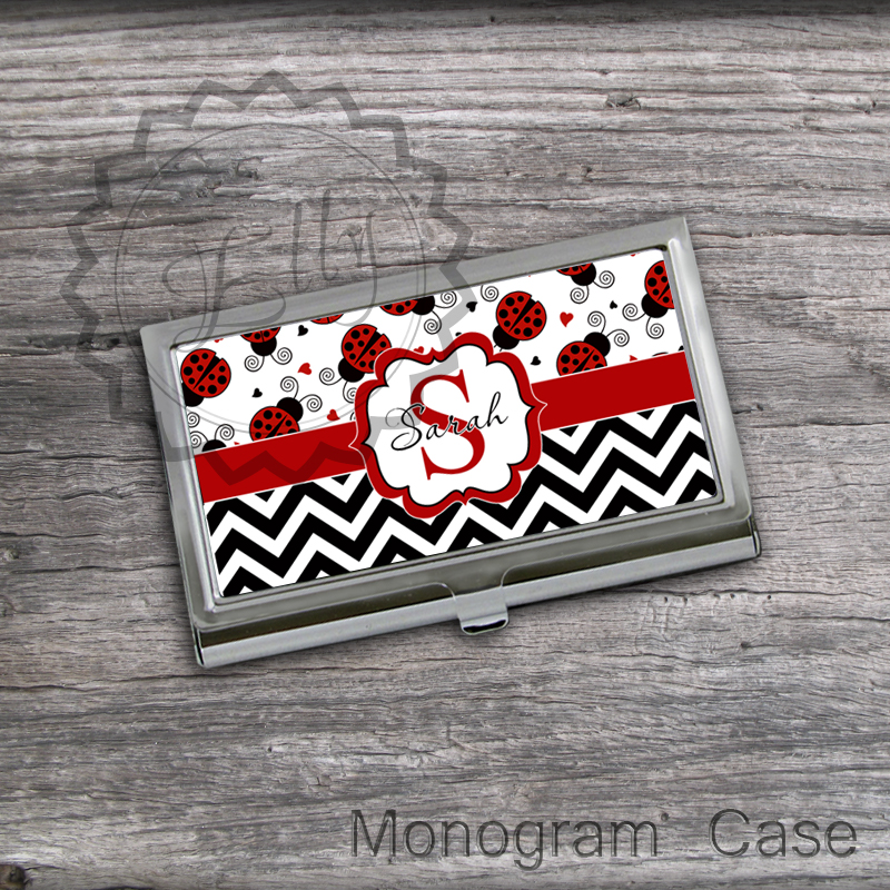 Lady Bugs Business Card Holder - Personalized Card Holder, custom card holder, office desc accessory gift