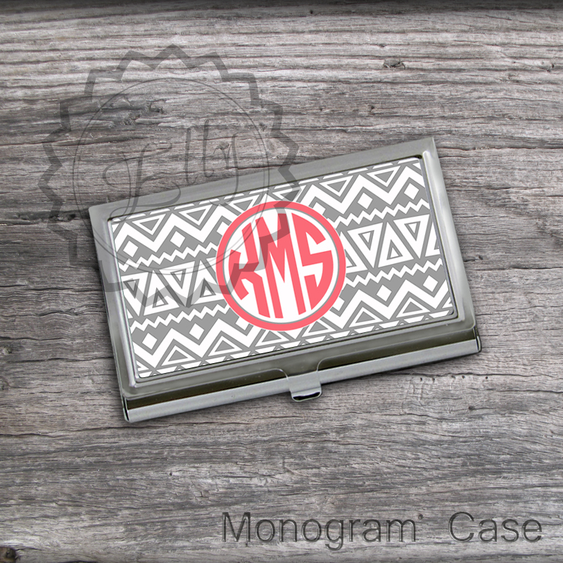Gray Tribal design Card Holder - Personalized Business Card keeper case, custom holder