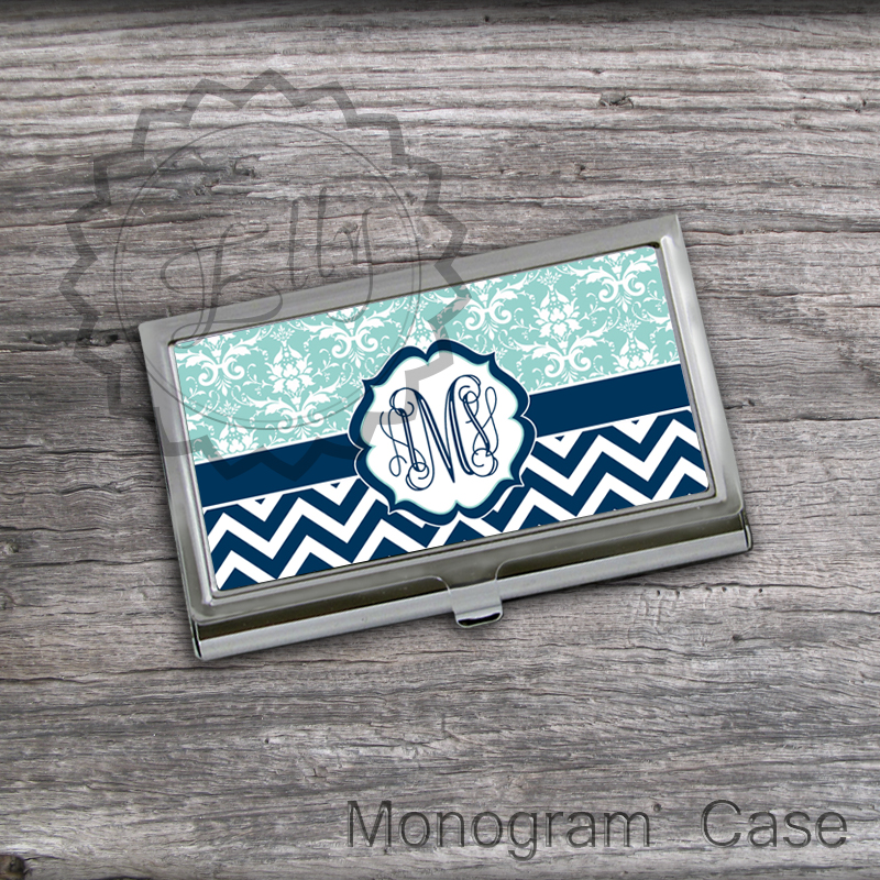 Chevron and Lace design Business Card Holder - Light and Navy Blue personalized card case, card holder case, Steel card holder