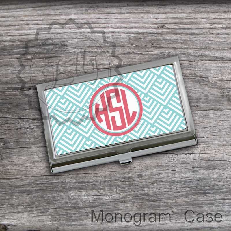 Monogrammed business card holder blue chevron crad holder office monogrammed business card holder blue chevron crad holder office boss gift case personalized colourmoves