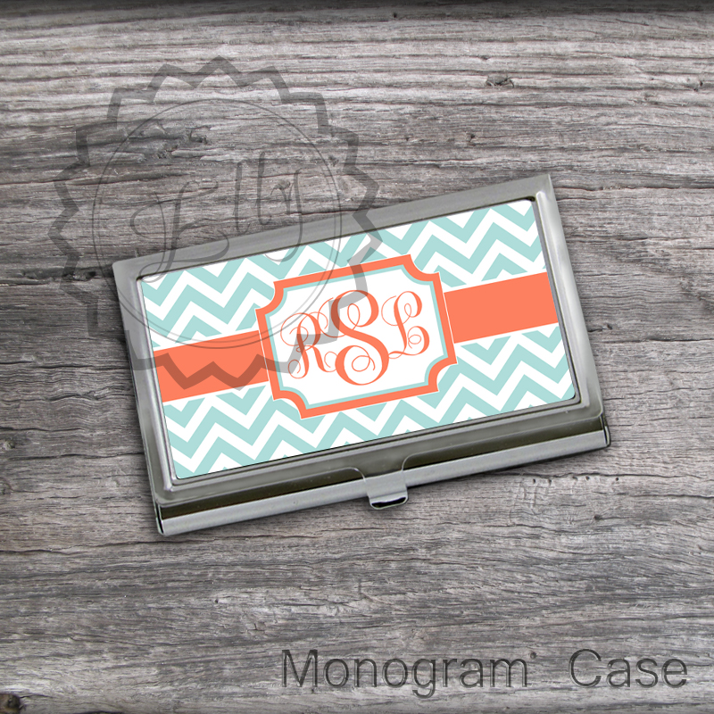 Orange and Tiffany Business Card Holder - Customized Card Holder, Store cards case, Steel card Holder