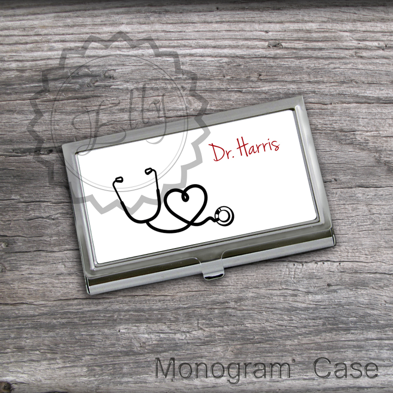 Stethoscope Design Card Holder - Personalized Business Card Case ...