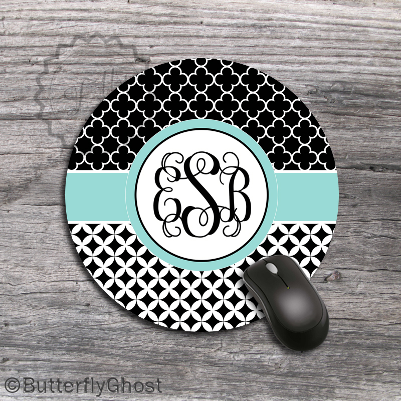 Tiffany Ribbon Mouse Pad - Black and White Round Mousepad, monogrammed desk accessory