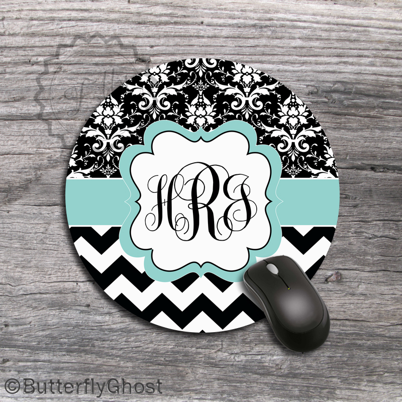 Flower Ornaments Design Computer Mouse Pad - Customized Name or Monogrammed Layout, office boss gift mat