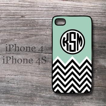 Grayed Jade chevron iPhone monogram case personalized snap on cover green chevron