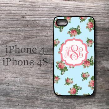 Floral case Vintage Roses iPhone sweet monogram snap on hard cover