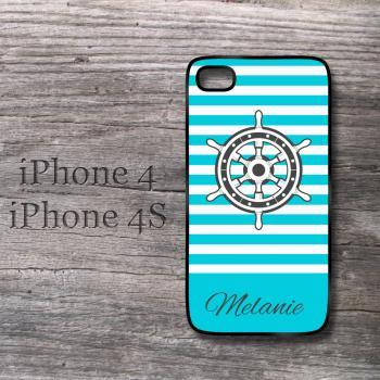 Nautical Preppy iPhone case aqua blue striped iphone cover with custom name or monogram