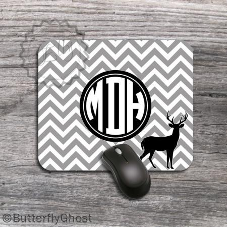 Deer design Computer Mousepad - Personalized office desk accessory, gray computer overlay, deer pic