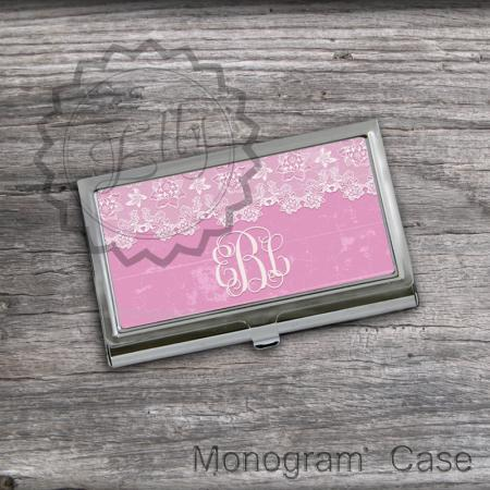 Pink and Lace Card Holder - Personalized Business Card Holder, custom cardholder case