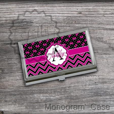 Personalized Card Holder - Hot Pink and Black For her Card holder, business card keeper case, customized gift