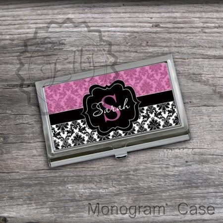 Customized Card Holder - Black Label Monogrammed Business card holder, office gift accessory