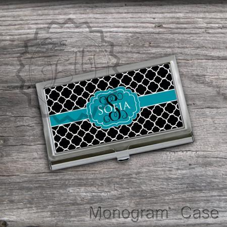 Quatrafoil pattern Business Card Holder - Customized Card case, personalized steel card case