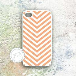 iphone 4S case peach arrow chevron hard cover - custom colour monogram