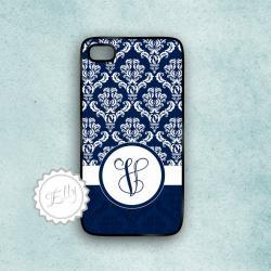 iPhone 4S personalized monogram case in navy blue damask cover