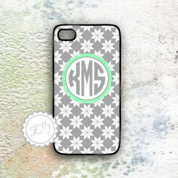 personalized iphone case gray and mint monogram hard case for i phone 5 4 and 4s