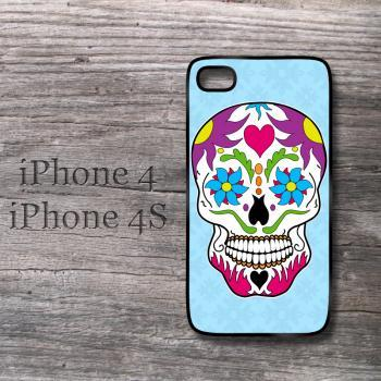Sugar Skull Colorful iPhone case Sky Blue iPhone4 Dia De Los Muertos day of the dead